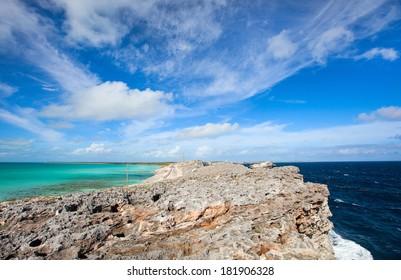 Eleuthera island Bahamas where Caribbean sea meets Atlantic ocean