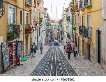 Elevador da Bica, Bairro Alto, Lisbon, Portugal-June 28-2016