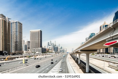 Elevated city highway and railroad