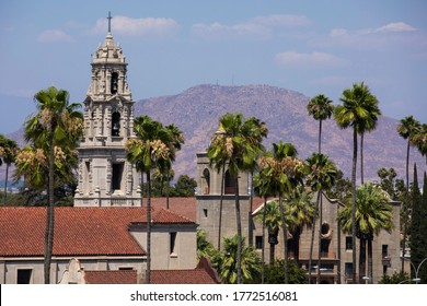 Elevated day time view of the historic city center of downtown Riverside, California.