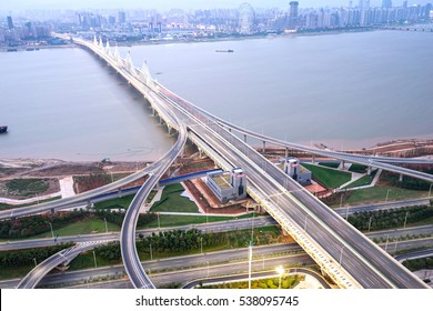 Elevated expressway. The curve of suspension bridge