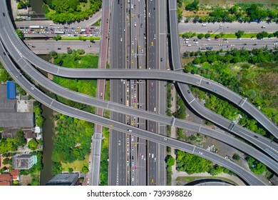 Elevated expressway. The curve of suspension bridge, Thailand. Aerial view. Top view. Background scenic road.