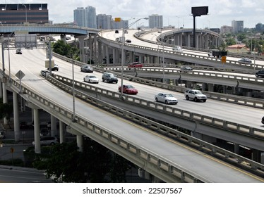 An elevated expressway interchange.