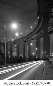 elevated highway or bridge at night