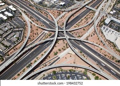 Elevated Interstate Interchange in north Phoenix, Arizona