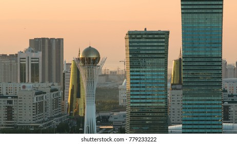 Elevated morning view over the city center and central business district at sunrise time, Kazakhstan, Astana, Central Asia.