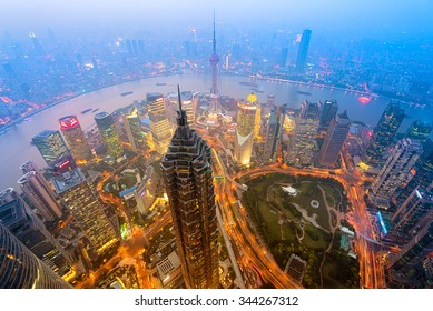 Elevated night view of Shanghai`s skyline.