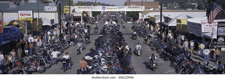 Elevated panoramic view of Main Street with motorcycles lining road at the 67th Annual Sturgis Motorcycle Rally, Sturgis, South Dakota, August 6-12, 2007