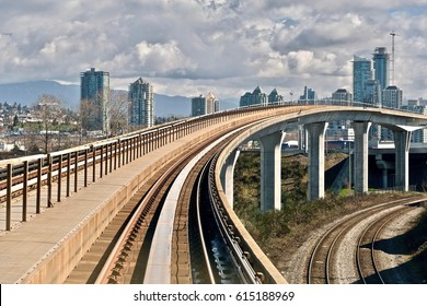 Elevated rail road of urban public transit system. Skytrain. Vancouver. British Columbia. Canada.