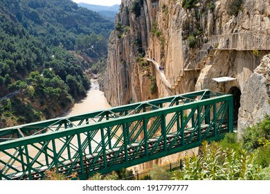Elevated railway near the dangerous path in the Caminito del Rey gorge in Malaga (Spain)