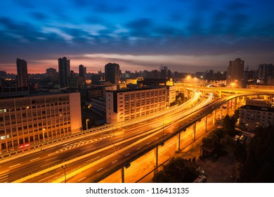 elevated road at dawn in shanghai,China