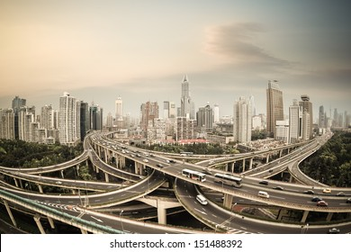 elevated road junction panorama in shanghai at dusk,China