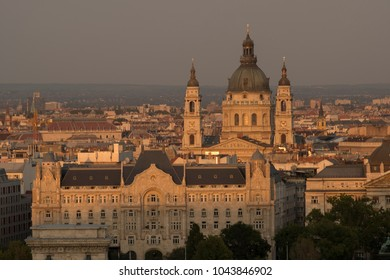 Elevated sunset shot of St Stephen Basilica in Budapest Hungary