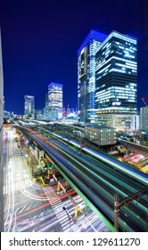 Elevated train lines and traffic in Ginza, Tokyo, Japan.