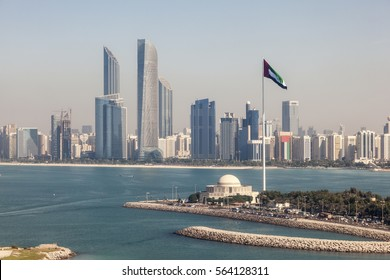 Elevated view of Abu Dhabi downtown skyline and corniche with the flag pole. United Arab Emirates, Middle East
