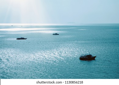 Elevated view of boat floating on sea in Pattaya, Thailand