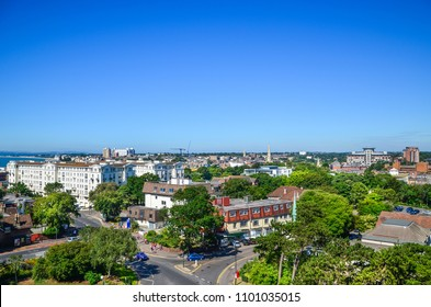 Elevated view of Bournemouth town centre against blue sky. Dorset, United Kingdom.