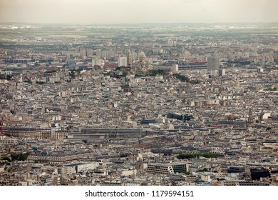 Elevated view of the buildings and suburbs of Paris, France, seen from the top of the Eiffel Tower