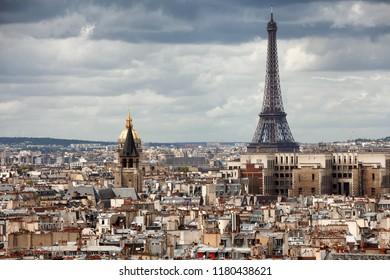 Elevated view of the buildings and suburbs of Paris, France, seen from the top of the Notre Dame Cathedral