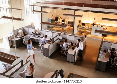 Elevated view of a busy open plan office