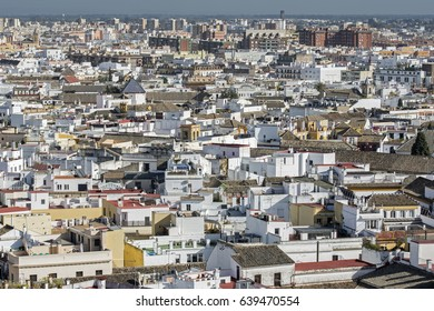Elevated view of the city center of Seville, Spain