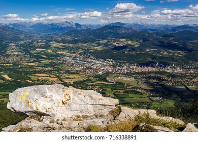 Elevated view of the city of Gap and region from Charance Peak in Summer. Hautes-Alpes, PACA Region, Southern French Alps, France