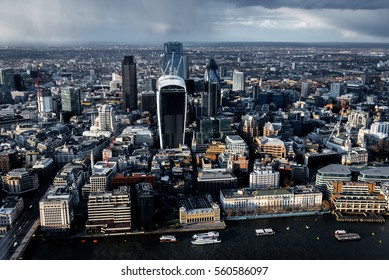 Elevated view of The City of London on a rainy Spring afternoon.