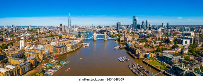 Elevated view of the Financial District of London near the Tower Bridge across river Thames. London. England.