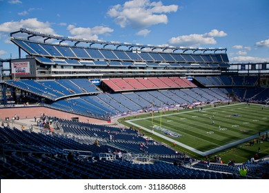 Elevated view of Gillette Stadium, home of Super Bowl champs, New England Patriots, NFL Team, Boston, MA