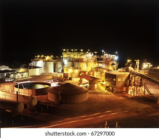 Elevated view of Gold Mine processing plant at night