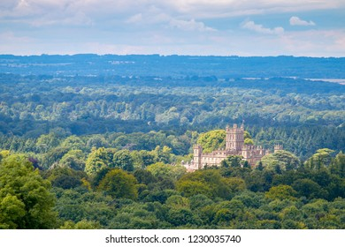 An elevated view of Highclere Castle taken from Beacon Hill in Hampshire, England.