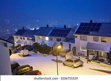 Elevated view of housing in the seaside town of Ilfracombe, North Devon, just after blizzard