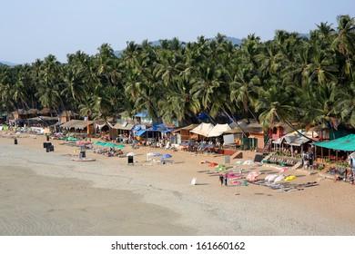 Elevated view idyllic Goa beach