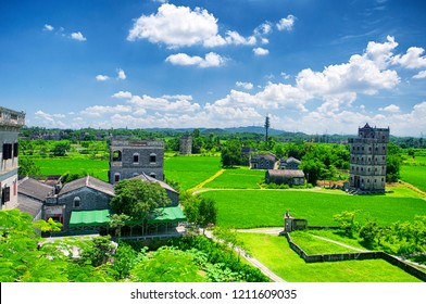 An elevated view of the Kaiping Towers Daiolou scenic area and world heritage site Kaiping China on a sunny day.