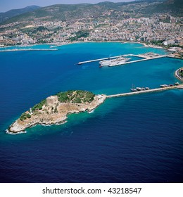 an elevated view of Kusadasi and the sea