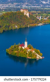 Elevated View of Lake Bled in Slovenia with Bled Island and Bled Castle