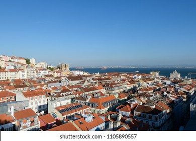 Elevated view of Lisbon skyline.