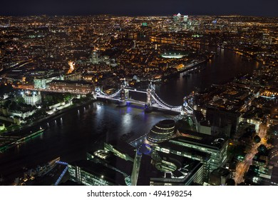 Elevated view of London at night