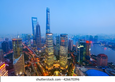 Elevated view of Lujiazui, shanghai - China.  Since the early 1990s, Lujiazui has been developed specifically as a new financial district of Shanghai.