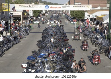 Elevated view of Main Street with motorcycles lining road at the 67th Annual Sturgis Motorcycle Rally, Sturgis, South Dakota, August 6-12, 2007