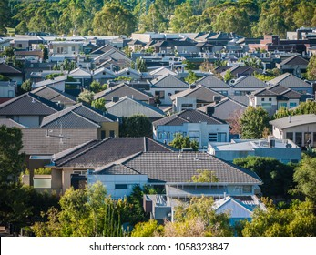 Elevated view of many residential houses in suburb. City of Maribyrnong, Melbourne VIC Australia.