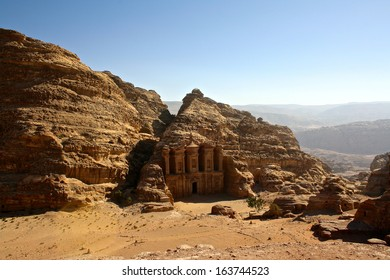 Elevated View of The Monastery or El Deir at the Ancient City of Petra, Jordan,