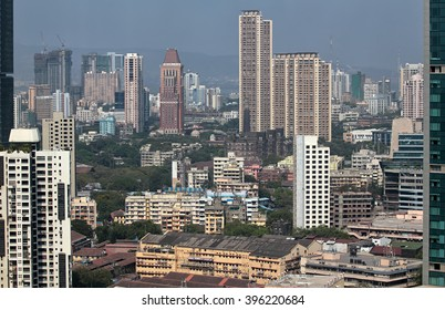 Elevated view of Mumbai India cityscape
