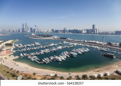 Elevated view over the Abu Dhabi marina. United Arab Emirates, Middle East