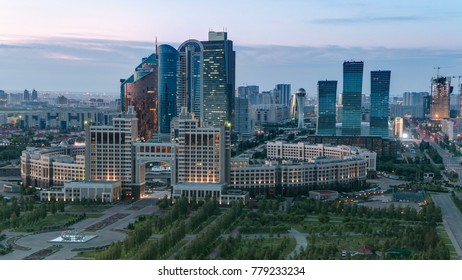 Elevated view over the city center and central business district from rooftop, Central Asia, Kazakhstan, Astana 4K