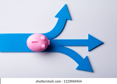 Elevated View Of Pink Piggybank And Blue Arrow Signs Showing Various Direction