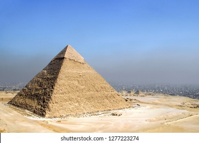 Elevated view of the Pyramid of Chephren, Giza, Cairo, Egypt.