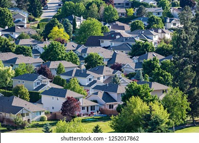 Elevated view of a residential subdivision in the Okanagan Valley West Kelowna British Columbia Canada