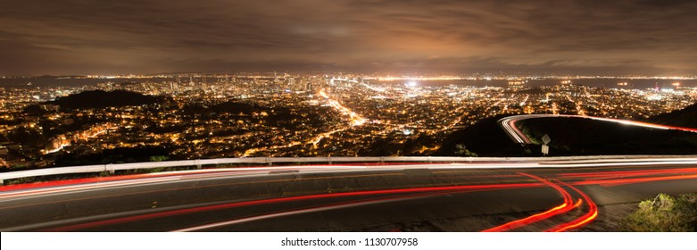 Elevated view of the San Francisco city from the Twin Towers at night, North Beach, San Francisco, California, USA