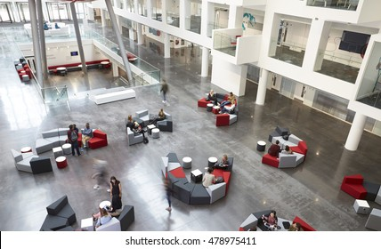 Elevated view of seating in a university atrium, motion blur